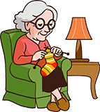 Oma 80 jaar breit een sok