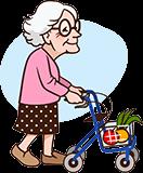 Oma 90 jaar met rollator