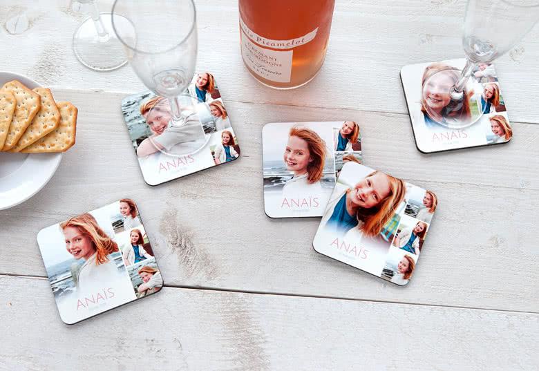 onderzetters met eigen foto - cadeau voor oma 65 jaar