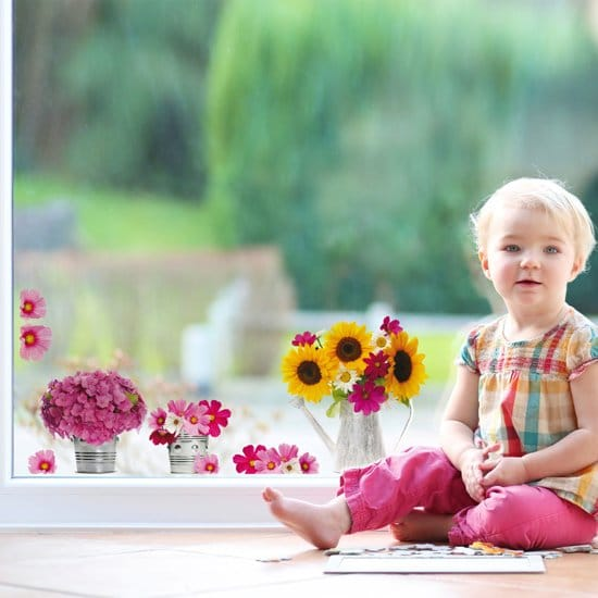 cadeau oudere vrouw - vrolijke raamstickers van bloemen