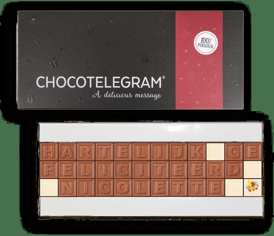 Chocolade telegram voor Oma - cadeau oma 80 jaar