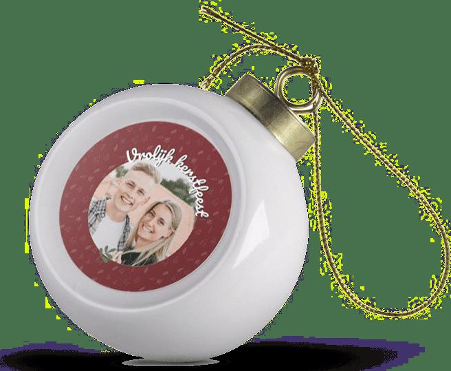 kerstbal met foto van keramiek - cadeau voor oma