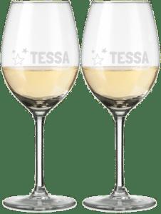 kerstcadeau voor een vrouw - gegraveerde wijnglazen