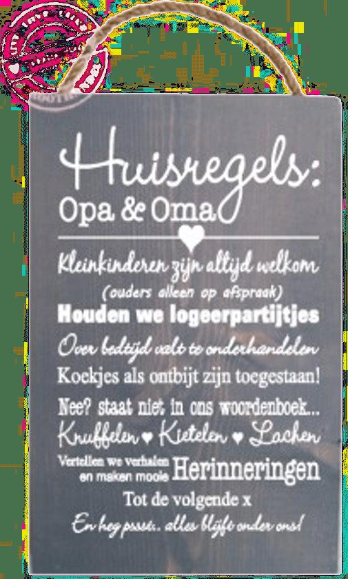 Genoeg Huisregels voor bij Opa en Oma! - Cadeau voor Oma.nl @LK37