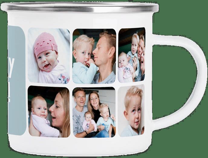 emaille mok met foto - camping cadeau voor oma