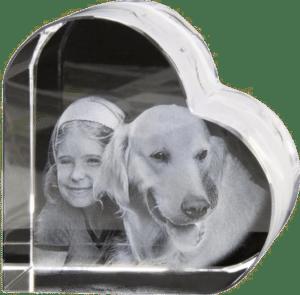 foto in glas hart - bijzonder cadeau voor oma