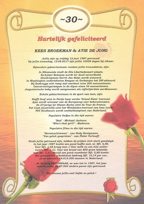 cadeau voor trouwdag ouders - historische kalender oorkonde