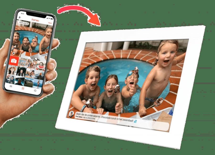 Mooi cadeau oma 80 jaar - digitale fotolijst wifi